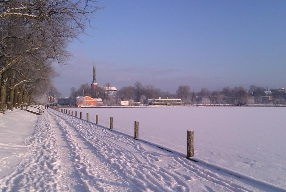 Växjösjön i vinterskrud