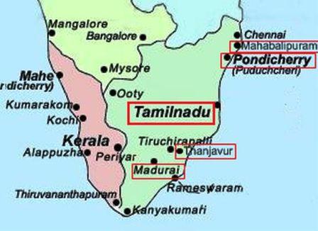 karta södra Indien