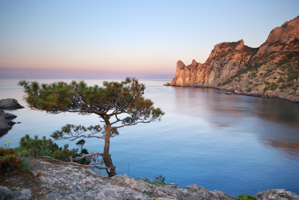 Mountain and sea.